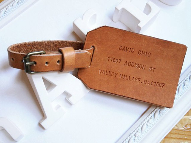 Personalised Leather Luggage Tag on etsy