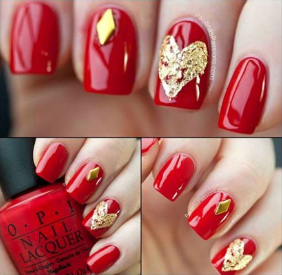 Red And Gold Nail Art Designs