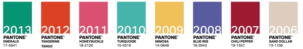 Color of the year 2013, 2012, 2010