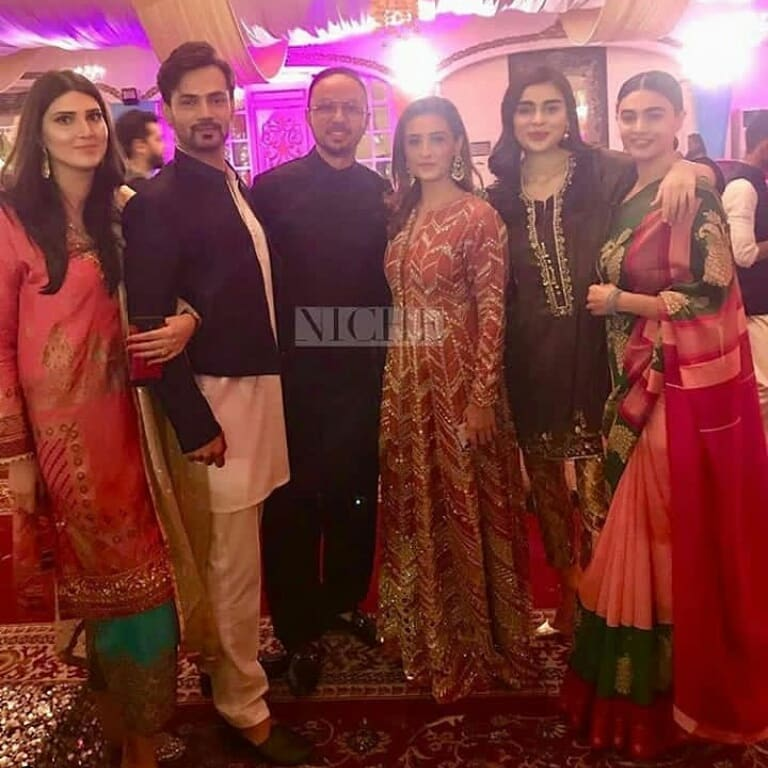 Zahid Ahmed With His Wife Amna At Aineeb Mehndi Pakistani Drama Celebrities