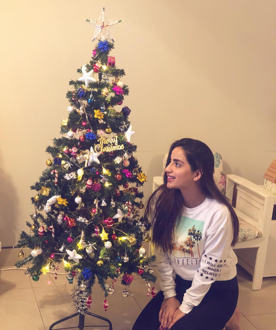 New Photos of Saboor Aly Celebrating Christmas with Her Care Takers