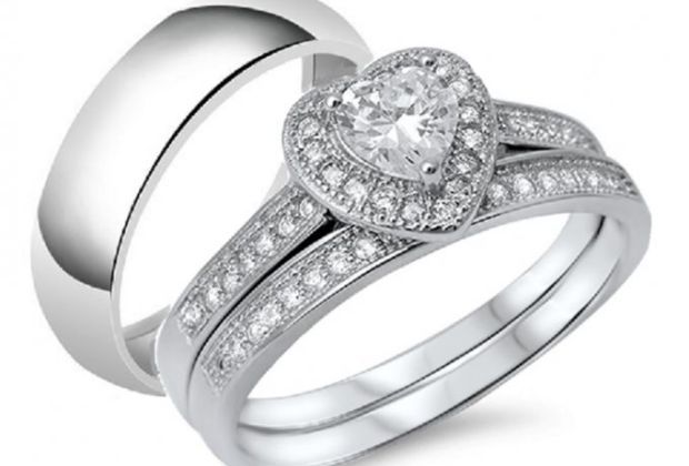 jina non fade 925 sterling silver set 3 in 1 - Expensive Wedding Ring