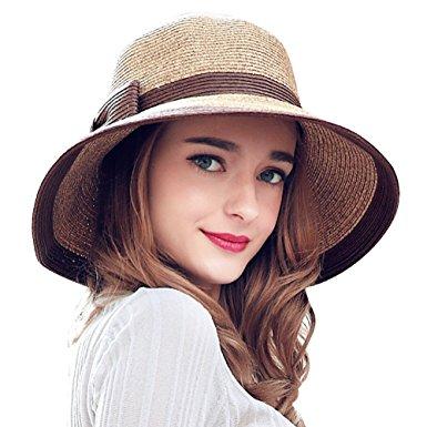 YUU VE Ladies Summer Straw Hat Fedora Floppy Sun Hat Large Wide Brim Cap  For Women 972d6d760aed