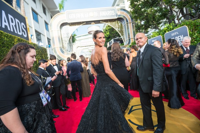 Heidi Klum arrives at the 75th Annual Golden Globe Awards at the Beverly Hilton in Beverly Hills, CA on Sunday, January 7, 2018.