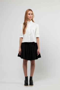 White Dolly Shirt with Concealed Placket £190 & Wool Skirt with Multi Twist Panel Detailing £420