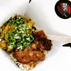 Curried aloo chicken & BBQ jerk pork belly with rice and peas