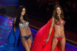 ALESSANDRA AMBROSIO & ADRIANA LIMA WEARING MATCHING FANTASY BRAS DURING THE VICTORIAS SECRET FASHION SHOW 2014 IN LONDON WALKING TO A SONG BY ED SHEERAN