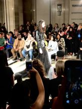 Malan Breton FW18 Fashion Scout London Fashion Week Opening Look is a model in black tulle skirt with leather jacket