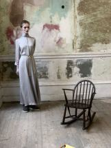Merchant Archive FW18 LFW a model in a silver grey shirt dress