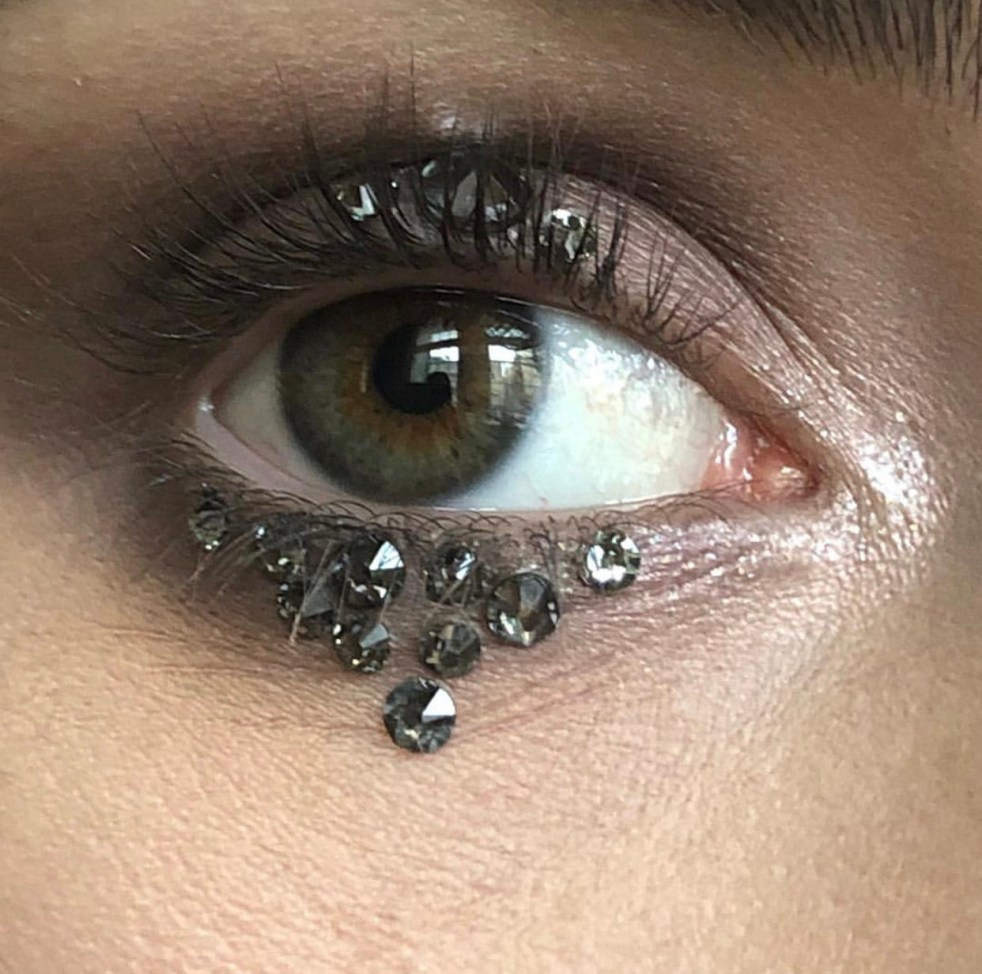 A close up image of lilly Collins eye makeup showing her crystal adorned eye at the 2018 Met Gala