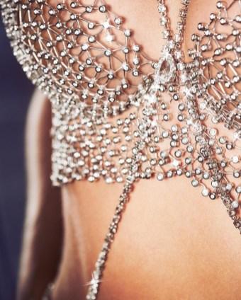 Elsa Hosk Victorias Secret Fantasy Bra Unveil 2018 Swarovski Diamonds close Up Detail