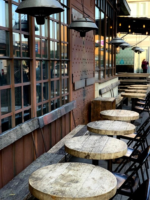 An image looking across an outdoor bar on the Shoreditch approach close to BoxPark. Fashion Voyeur Blog