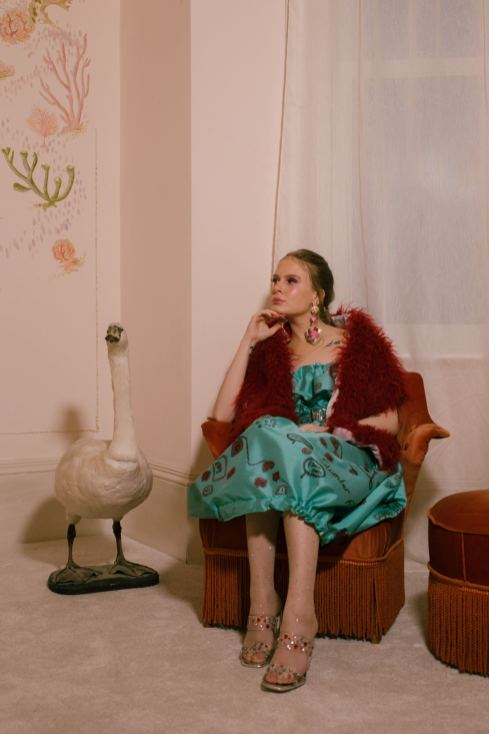 Solo model shot for the Amy Thomson x Sassy Freak campaign for FW19 Fashion Voyeur Blog by Pixie Tenenbaum