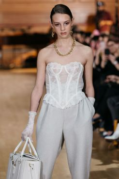 Solo model on the runway for Chanel Joan Elkayam FW19 at London Fashion Week Fashion Voyeur Blog by Pixie Tenenbaum