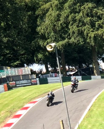 An image of Bo on a Honda Fireblade SP on the Mountain at Cadwell Park with the front wheel off the ground