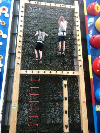 Bo and Plankton Tenenbaum climbing together at the new Clip n' Climb attraction at Wicksteed Park in Kettering