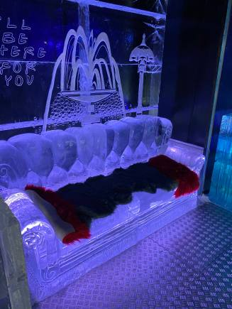 A friends style sofa and set piece carved entirely from ice in the Grey Goose Ice Bar at STACK Newcastle January 2020