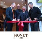 From left to right, Michael Rosenberg, Oscar Award winning film director Paul Haggis, Mr. Pascal Raffy, Jeffrey Khalaf cut the ribbon at the Bovet boutique opening.