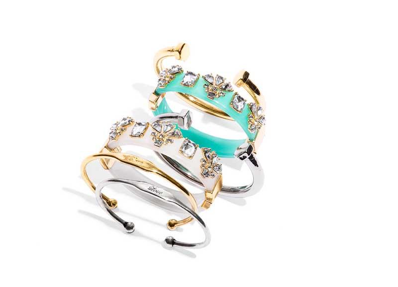 Phillips Open End Cuff, $28. Embellished Color Hinge Bracelet, $38. Love Inscription Cuff Bracelet, $28.