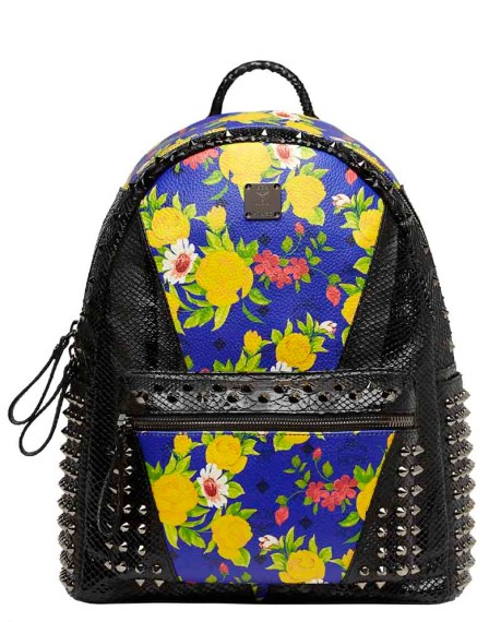 Blume Paradiso Flower Visetos Backpack Blue Black Studs