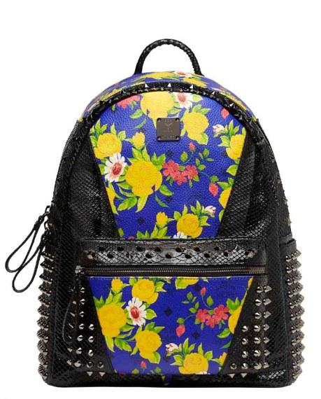 Blume Paradiso Flower Visetos Backpack Blue Black Studs