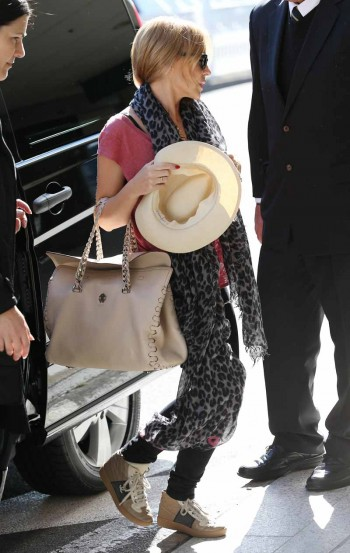 Kylie Minogue carrying her Roberto Cavalli Regina Bag in Sydney
