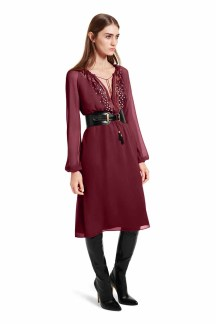 Bohemian romance meets sexy femininity in this versatile look. The breezy embroidered dress gets a modern edge when paired with over-the-knee boots and the statement belt. LOOK 20 Embroidered Dress in Red, $54.99** Croc Effect Belt in Black, $29.99** Over-the-Knee Boot in Black, $79.99 ** AVAILABLE GLOBALLY ON NET-A-PORTER.COM
