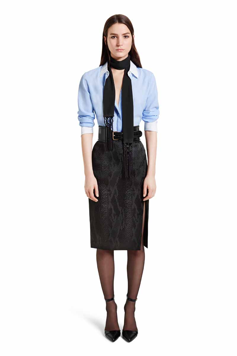 With their precise cuts and chic tones, these effortless separates combine for a look of sharp sophistication. The androgynous appeal of theoversized shirt plays up the elegance of the skirt. LOOK 9 Oxford Shirt in Banker Stripe, $29.99** Pencil Skirt in Black Jacquard, $34.99** Croc Effect Belt in Black, $29.99** Ankle Strap Shoe in Black, $39.99* *TARGET.COM EXCLUSIVE ** AVAILABLE GLOBALLY ON NET-A-PORTER.COM