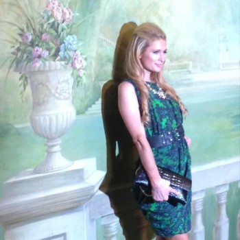 Paris Hilton attends the Alice & Olivia Spring 2015 show at New York Fashion Week