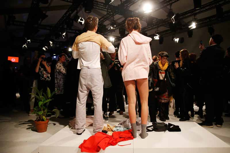 BERLIN, GERMANY - JANUARY 21: Models pose at the Julian Zigerli - All Time Favorite show during the Mercedes-Benz Fashion Week Berlin Autumn/Winter 2015/16 at Brandenburg Gate on January 21, 2015 in Berlin, Germany. (Photo by Joern Pollex/Getty Images for Julian Zigerli)