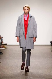 A model poses at the Ivanman show during the Mercedes-Benz Fashion Week Berlin Spring/Summer 2016 at Stage at me Collectors Room on July 7, 2015 in Berlin, Germany.