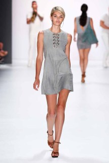 BERLIN, GERMANY - JULY 07: Model Luisa Hartema walks the runway at the Riani show during the Mercedes-Benz Fashion Week Berlin Spring/Summer 2016 at Brandenburg Gate on July 7, 2015 in Berlin, Germany. (Photo by Frazer Harrison/Getty Images for Riani)