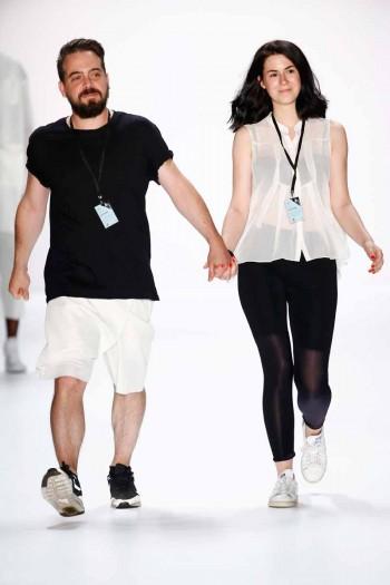 Designers Martin Eichler and Kristina Puljan on the runway