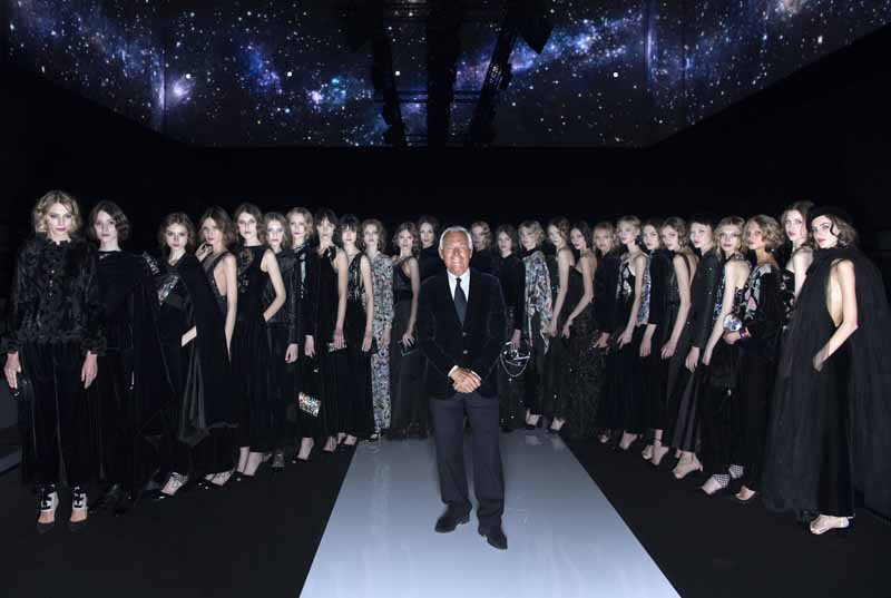 Giorgio Armani and models