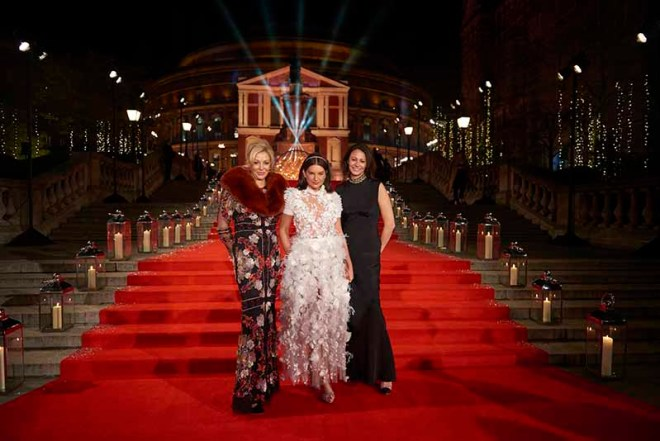 Nadja Swarovski, Dame Natalie Massenet and Caroline Rush CBE at The Fashion Awards 2016 (Zoe Lower, BFC)