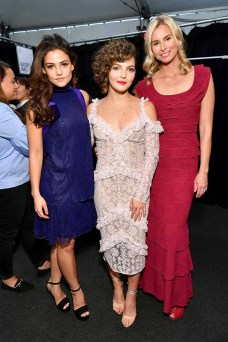 NEW YORK, NY - SEPTEMBER 07: Actress Danielle Campbell, actress Camren Bicondova and model Niki Taylor pose backstage before the Tadashi Shoji fashion show at Gallery 1, Skylight Clarkson Sq on September 7, 2017 in New York City. (Photo by Dia Dipasupil/Getty Images For Tadashi Shoji)