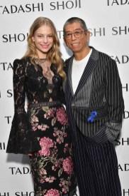 NEW YORK, NY - SEPTEMBER 07: Danielle Lauder and designer Tadashi Shoji pose backstage before the Tadashi Shoji fashion show at Gallery 1, Skylight Clarkson Sq on September 7, 2017 in New York City. (Photo by Dia Dipasupil/Getty Images For Tadashi Shoji)