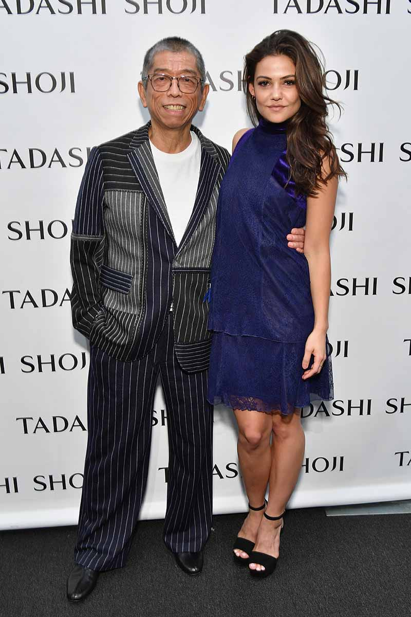 NEW YORK, NY - SEPTEMBER 07: Designer Tadashi Shoji and actress Danielle Campbell pose backstage before the Tadashi Shoji fashion show at Gallery 1, Skylight Clarkson Sq on September 7, 2017 in New York City. (Photo by Dia Dipasupil/Getty Images For Tadashi Shoji)