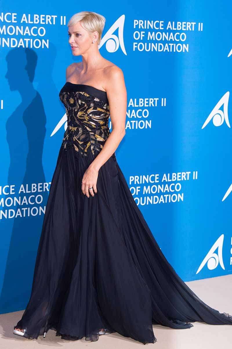 """MONACO - SEPTEMBER 28: Princess Charlene of Monaco attend the Inaugural """"Monte-Carlo Gala For The Global Ocean"""" Honoring Leonardo DiCaprio at The Monaco Garnier Opera on September 28, 2017 in Monaco, Monaco. (Photo by Stephane Cardinale - Corbis/Corbis via Getty Images)"""