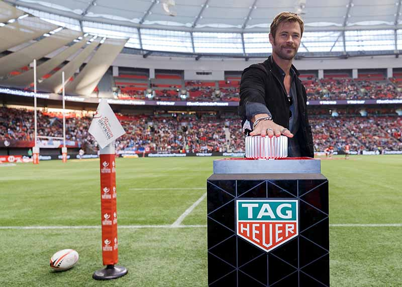 VANCOUVER, BC - MARCH 11: TAG Heuer Ambassador Chris Hemsworth leads the TAG Heuer countdown before the final match at the 2018 Canada Sevens Rugby Tournament at BC Place on March 11, 2018 in Vancouver, Canada. (Photo by Andrew Chin/Getty Images for TAG Heuer)