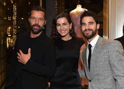 BEVERLY HILLS, CA - MARCH 03: (L-R) Ricky Martin, Camilla Belle, and Darren Criss attend Giorgio Armani's celebration of 'The Shape of Water' hosted by Roberta Armani on March 3, 2018 in Beverly Hills, California. (Photo by Donato Sardella/Getty Images for Giorgio Armani)
