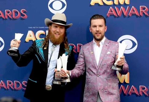 The 53rd Academy of Country Music Awards red carpet is held at the MGM Grand Garden Arena on the Las Vegas Strip. Here John Osborne (l) and TJ Osborne (r) of the Brothers take home the award for Vocal Duo of the Year and for Video of the Year for a double Osborne win. Sunday, April 15, 2018. CREDIT: Glenn Pinkerton/Las Vegas News Bureau