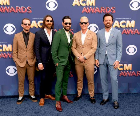 The 53rd Academy of Country Music Awards red carpet is held at the MGM Grand Garden Arena on the Las Vegas Strip. Here (l-r) Whit Sellers, kGeoff Sprung, Matthew Ramsey, Trevor Rosen and Brad Tursi collectively known as Old Domion and nominees for Vocal Group of the Year and Album of the Year walk the ACM red carpet. Sunday, April 15, 2018. CREDIT: Glenn Pinkerton/Las Vegas News Bureau