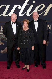 CANBERRA, AUSTRALIA - MARCH 27: Gerard Vaughan NGA Director, Her Excellency Lady Cosgrove and His Excellency Sir Peter Cosgrove AK MC(Retd) attend the Cartier: The Exhibition Black Tie Dinner at the National Gallery of Australia on March 27, 2018 in Canberra, Australia. (Photo by Cole Bennetts/Getty Images)