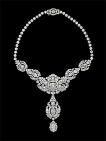 Cartier London Nizam of Hyderabad necklace 1935 platinum, diamonds, 38.5 cm (length) lent by Her Majesty Queen Elizabeth II Royal Collection Trust/All Rights Reserved
