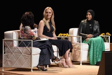 (L-R) ABC News Correspondent Deborah Roberts, U.S. Olympic Medalist Lindsey Vonn, and U.S. Olympic Medalist Ibtihaj Muhammad