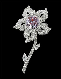 Cartier London Williamson brooch 1953 special order, platinum, diamonds, pink diamond 10 x 5.5 cm, lent by Her Majesty Queen Elizabeth II Royal Collection Trust/All Rights Reserved