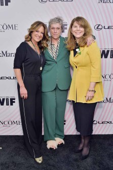 BEVERLY HILLS, CA - JUNE 13: (L-R) Women In Film, Los Angeles Board President Cathy Schulman, Frances McDormand and Dr. Stacy L. Smith attend the Women In Film 2018 Crystal + Lucy Awards presented by Max Mara, Lancôme and Lexus at The Beverly Hilton Hotel on June 13, 2018 in Beverly Hills, California. (Photo by Stefanie Keenan/Getty Images for Women In Film)