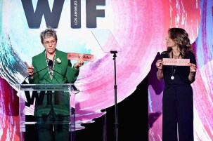 BEVERLY HILLS, CA - JUNE 13: Frances McDormand (L) and Women In Film, Los Angeles Board President Cathy Schulman speak onstage during the Women In Film 2018 Crystal + Lucy Awards presented by Max Mara,Lancôme and Lexus at The Beverly Hilton Hotel on June 13, 2018 in Beverly Hills, California. (Photo by Emma McIntyre/Getty Images for Women In Film)