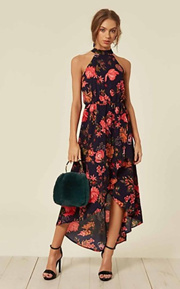 Navy Floral Cut In Neck Wrap Dress